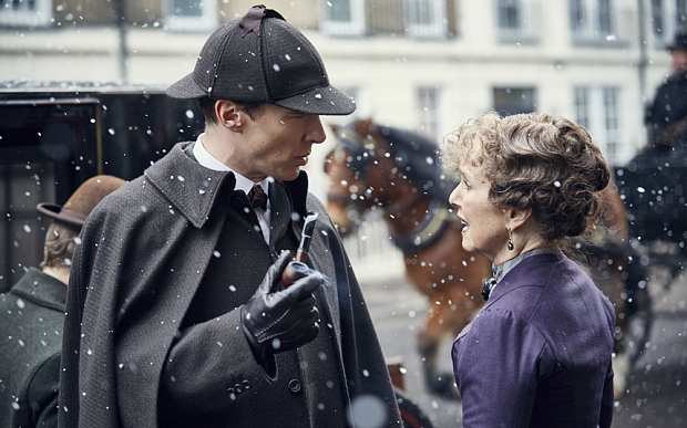 WARNING: Embargoed for publication until 00:00:01 on 24/11/2015 - Programme Name: Sherlock - TX: 01/01/2016 - Episode: The Abominable Bride (No. 1) - Picture Shows: **STRICTLY EMBARGOED FOR PUBLICATION UNTIL 24TH NOVEMBER 2015** Sherlock Holmes (BENEDICT CUMBERBATCH), Mrs Hudson (UNA STUBBS) - (C) Hartswood Films - Photographer: Robert Viglasky