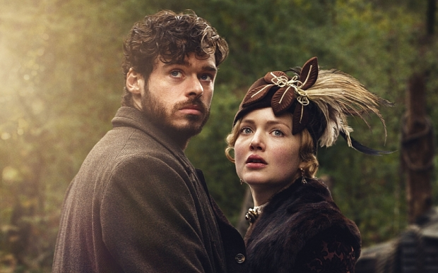 WARNING: Embargoed for publication until 16/08/2015 - Programme Name: Lady Chatterley's Lover - TX: 06/09/2015 - Episode: LCL Iconic (No. n/a) - Picture Shows: ** EMBARGO: 00:01 SUNDAY 16 AUGUST 2015 ** Oliver Mellors (RICHARD MADDEN), Constance Chatterley (HOLLIDAY GRAINGER) - (C) HARTSWOOD FILMS - Photographer: JOSH BARRATT
