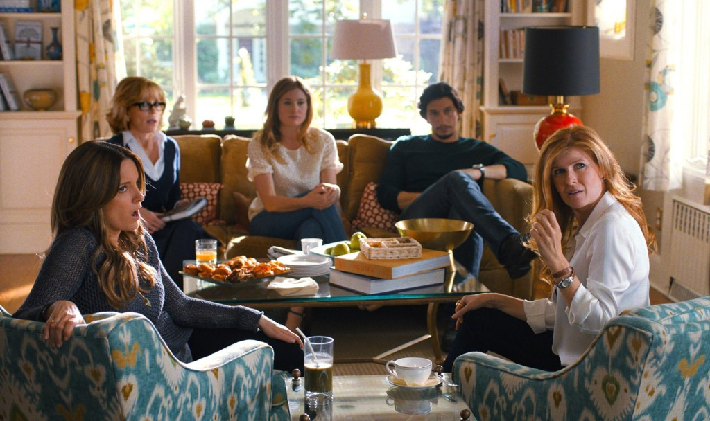"""From left, Tina Fey as Wendy Altman, Jane Fonda as Hilary Altman, Kathryn Hahn as Annie Altman, Adam Driver as Phillip Altman and Connie Britton as Tracy Sullivan in Warner Bros. Pictures' dramatic comedy """"This Is Where I Leave You."""" (Warner Bros./MCT)"""