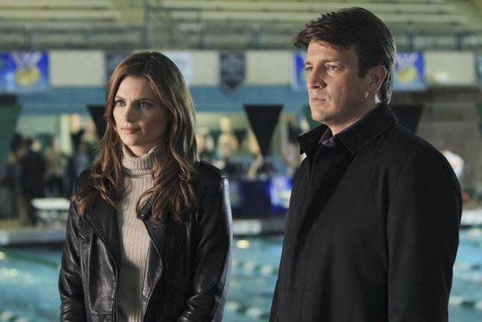 """CASTLE - """"The Dead Pool"""" - When a champion swimmer and Olympic hopeful is found dead in a training pool, Castle & Beckett dive in to investigate his murder, and uncover myriad secrets that might have led to his death. Also in the episode, crime fiction authors Michael Connelly and Dennis Lehane guest star, offering Castle their insights into the case over a game of poker, on """"Castle,"""" MONDAY, APRIL 11 (10:01-11:00 p.m. ET) on the ABC Television Network. (ABC/MATT KENNEDY) STANA KATIC, NATHAN FILLION"""