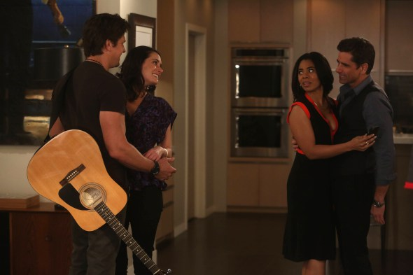 GRANDFATHERED: L-R: Guest star Michael Trucco, Paget Brewster, guest star Regina Hall and John Stamos in the ÒThe CureÓ season finale episode of GRANDFATHERED airing Tuesday, May 12 (8:30-9:00 PM ET/PT) on FOX. ©2016 Fox Broadcasting Co. Cr: Jordin Althaus/FOX